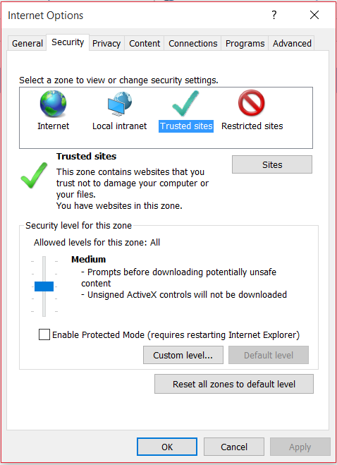 Internet Explorer Internet Options dialog screenshot
