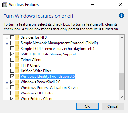 Windows Features dialog screenshot